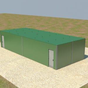 Les parois de protection sont insérées sur place au moyen d'un système de fente unique, le toit est également fortifié