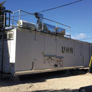 Cuisine mobile dans un camp des Nations Unies en supplément à une cuisine existante
