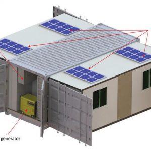 Le conteneur ouvert: Panneaux solaires, unité de climatisation extérieure, générateur diesel