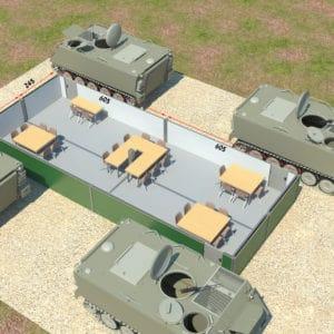 Les conteneurs sont reliés à une alimentation électrique et l'APG est positionné pour une protection supplémentaire